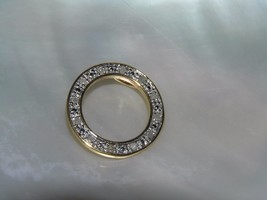 Estate 925 Marked Goldwashed Silver Open Circle with Clear Rhinestones P... - $12.19