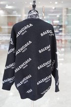 100% AUTHENTIC JACQUERED KNIT BALENCIAGA PARIS BLACK LOGO SWEATER SZ 40 image 7