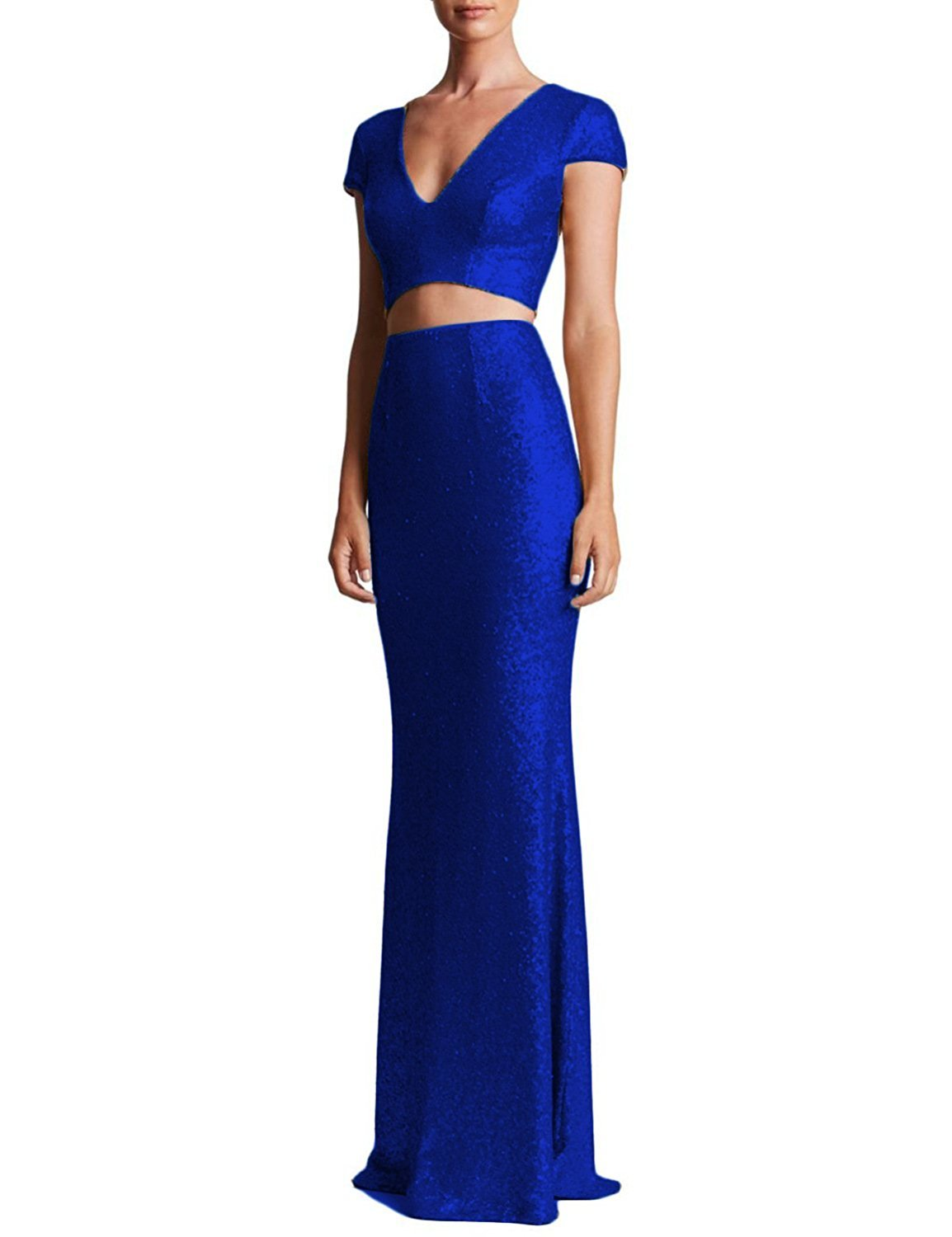 Women's Cheap Sequins Mermaid Evening Two Pieces Prom Dress Formal Party Gowns