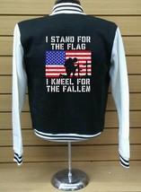 Stand for the Flag  LETTERMAN VARSITY BASEBALL BLACK/WHITE FLEECE JACKET - $29.69+