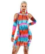 Rasta Dress Reggae Jamaica Clothing Tie Dye Open Shoulder - $29.99
