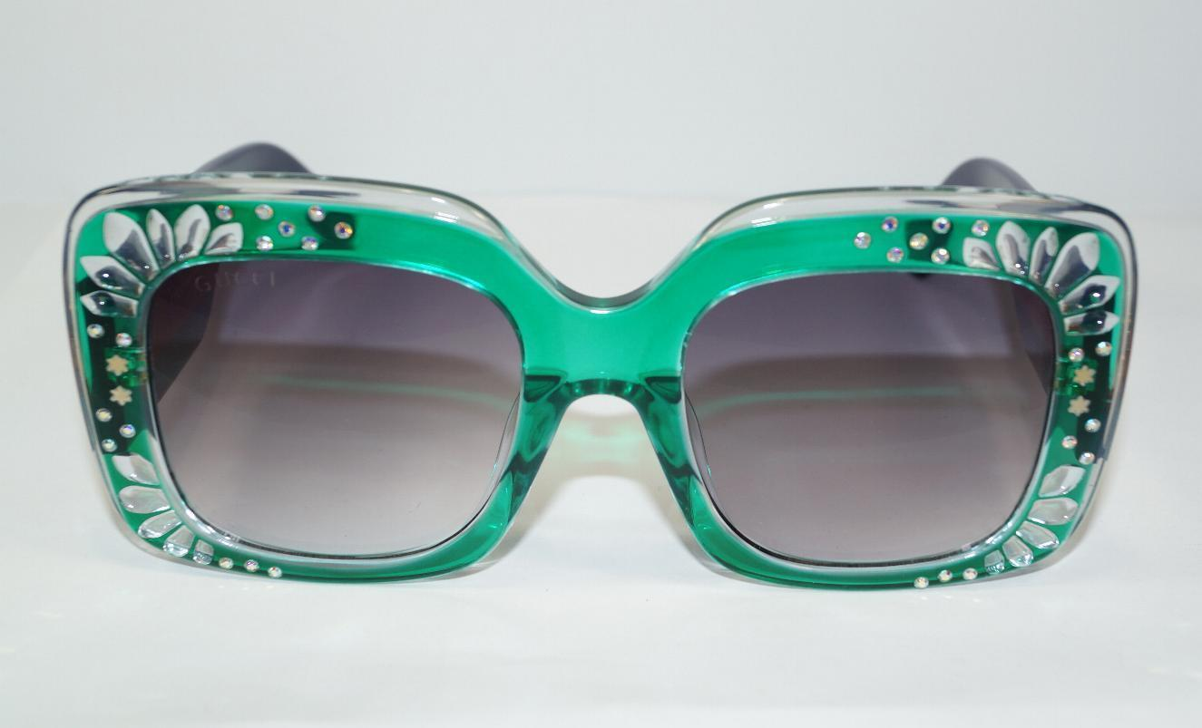 eeed8be08ef NEW AUTH GUCCI SQUARE GREEN CRYSTAL LOGO SUNGLASSES GG3862S w CASE-ITALY