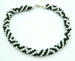 Black White Bead Beaded Twist Wide Acrylic Choker Necklace Vintage - $24.74