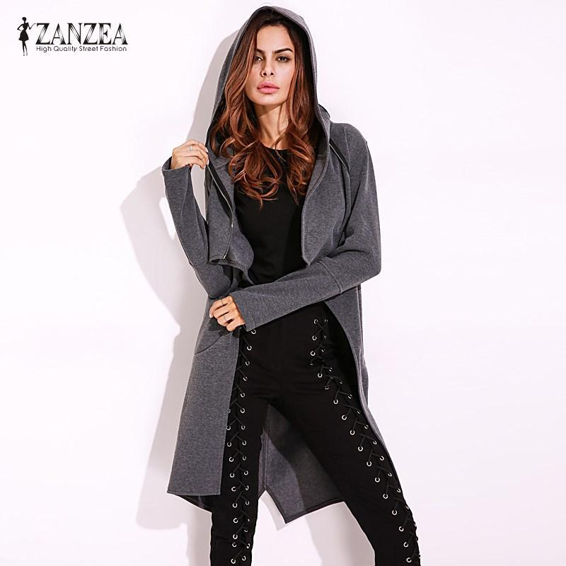 Plus Size ZANZEA 2017 Womens Retro Hooded Hoodie Long Sleeve Slim Sweats Jacket
