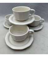 Pfaltzgraff Heritage White - set/lot of 4 flat bottom Cup and Saucer set... - $11.88