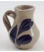Miniature Salt Glazed Stoneware Pitcher Jug w/ Cobalt Blue Decor & Twist... - $16.88