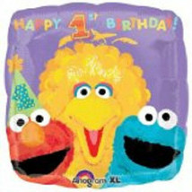 "Sesame Street Square Mylar 18"" Balloon Foil 1st Birthday Big Bird Elmo - $3.95"