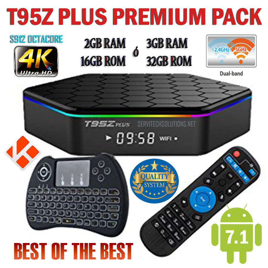 T95Z Plus Android TV Box 7.1 4K w/ Wireless Keyboard Premium Pack +than expected, used for sale  USA