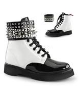 "DEMONIA Rival-106 Series 1 1/4"" Heel Boots - White Vegan Leather-Black P... - $65.95"