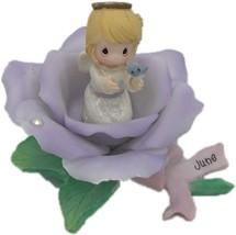 Precious Moments 2001Classic  June Lavender Rose Angel Birth Stone Flower - $45.99
