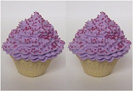 Set of 2 Vanilla Cupcakes with Purple Icing Perfect for 18 Inch American Girl Do - $9.99