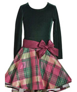 Bonnie Jean Green Velvet Long Sleeve Christmas Dress Magenta Plaid Size 14 Nwt - $23.75