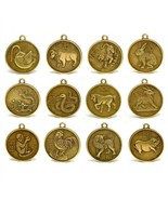 "SET OF 12 CHINESE ZODIAC CHARMS 1"" Pendant Feng Shui Lunar New Year Horo... - £12.76 GBP"