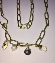 Silver tone chain vintage necklace with wire wrapped gemstones design signed JK  - $19.00