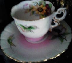 Vintage 1940s Occupied Japan Floral Tea Cup and Saucer Gold Trim - $9.99