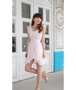 Sweet Feminine Pink Chiffon Wavy Hem Dress. Par... - $95.50