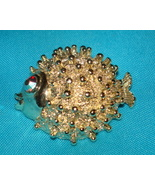 VINTAGE FUN 1960's FAT PORCUPINE FISH PIN w/ RED RHINESTONE EYE BROOCH - $12.99