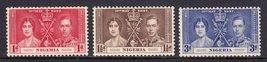 1937 Coronation Set of 3 Nigeria Postage Stamps Catalog Number 50-52 MNH