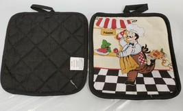 Set of 2 Same Printed Kitchen Pot Holders,RUNNING FAT CHEF PANINI,black ... - $8.90