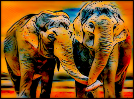 Elephant couple trunk in trunck INSTANT DOWNLOAD large print made in USA - $8.50