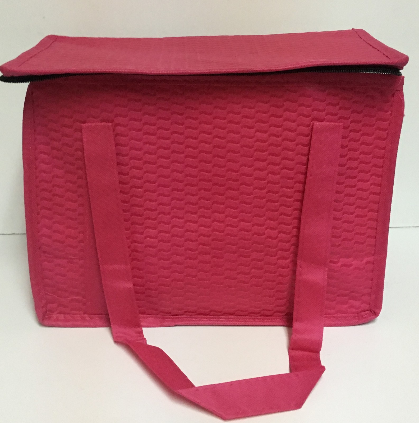 """Hot Pink Insulated Lunch Bag 12.5"""" x 7"""" x 9"""" Zip Around Top NWT"""