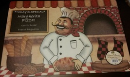 FAT CHEF Placemats Set of 4 Plastic Italian Cook Margherita Pizza Pie Red NEW image 4