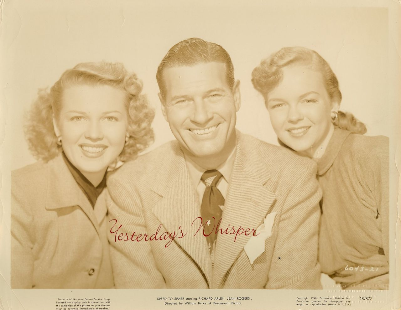 Richard ARLEN Jean ROGERS Speed to SPARE ORG  PHOTO