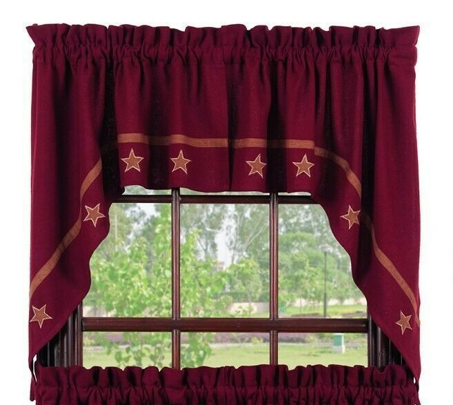Primary image for Olivia's Heartland primitive country BURLAP Burgundy STARS window SWAG curtains