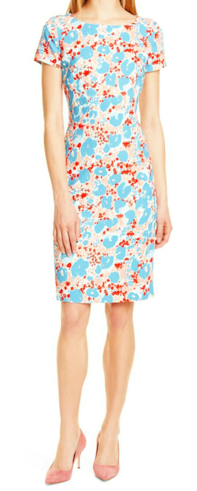 Primary image for $585 Hugo Boss Donisa Stretch Woven Sheath Dress US 14 Multicolor Viscose Lined