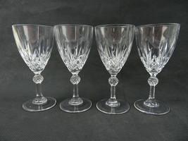Vintage German Crystal lot of 4 elegant wine glass Mid Century deco - $38.00