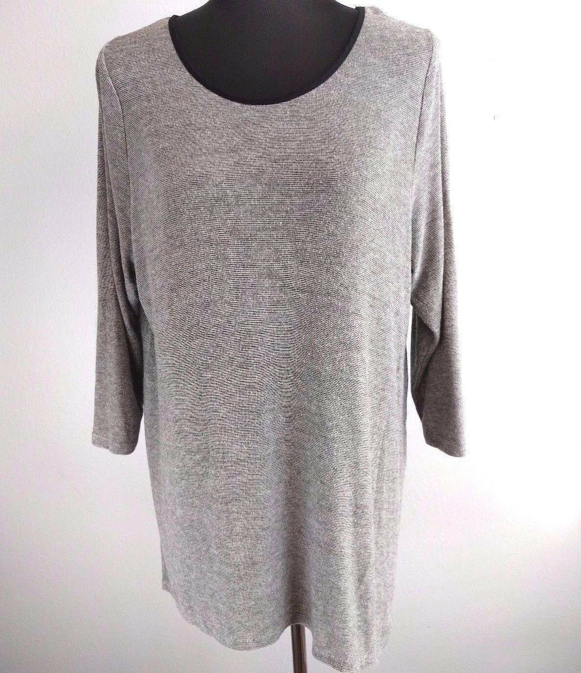 Lane Bryant Womens Tunic Top 14 Gray Black Chiffon Back Zip 3/4 Sleeve High Low - $24.74