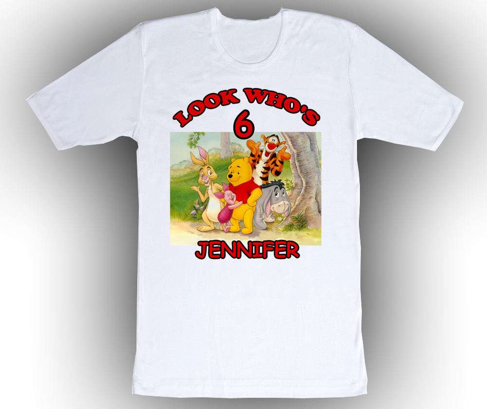 Personalized Winnie the Pooh Birthday T-Shirt Add Name