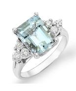Estate ring 2.4 ct Aquamarine and diamond 14k - $775.00