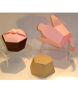 12 Cupcake Shaped Favor Boxes Paper Wedding Birthday Party - $6.99