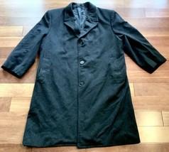 Vintage Mens Cashmere Blend Overcoat Custom Tailor Made Dark Gray - $12.86