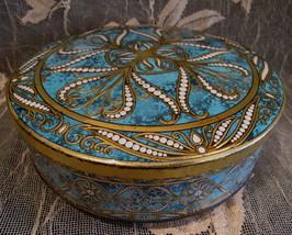 Vintage ENGLAND Cookie Tin Souvenir Turquoise Blue Swirl Workbasket Design  - $9.95
