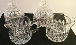 2 Sets of Gorham Made In West Germany Althea Crystal Sugar & Creamer Set Vintage - $56.43