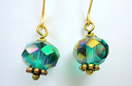 Sparkling Teal Fire Polished Crystal Earrings - $16.00