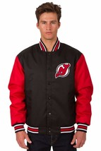 NHL New Jersey Devils Poly Twill Jacket  Black  Red Patch Logos JH Design - $99.99+