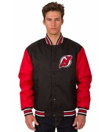 NHL New Jersey Devils Poly Twill Jacket  Black  Red Patch Logos JH Design - $99.99 - $129.99