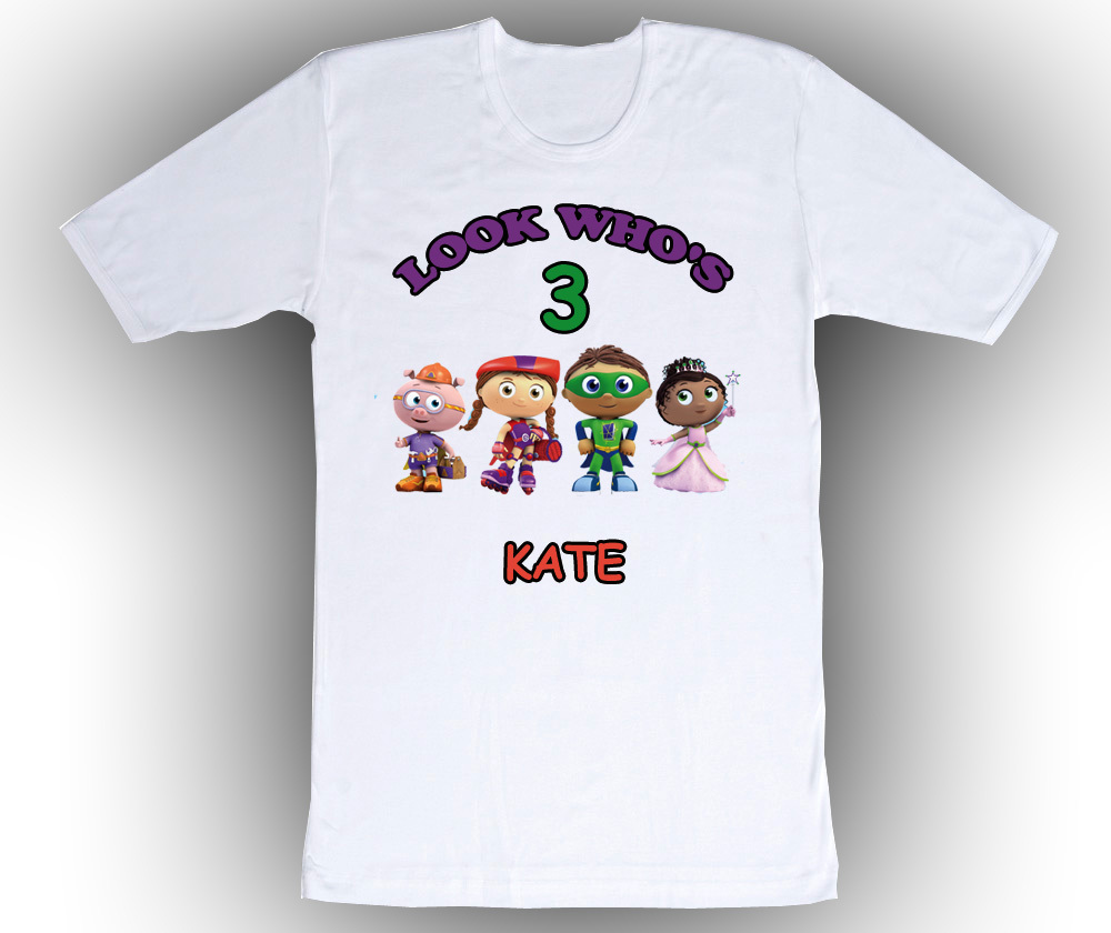 Personalized super why birthday t shirt gift add name 1 for Unique custom t shirts