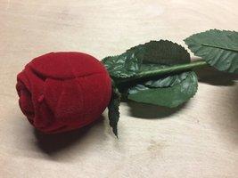 Vintage Clear Rhinestone Stud Earrings in Red Flocked Long Stem Rose Gift Box image 4