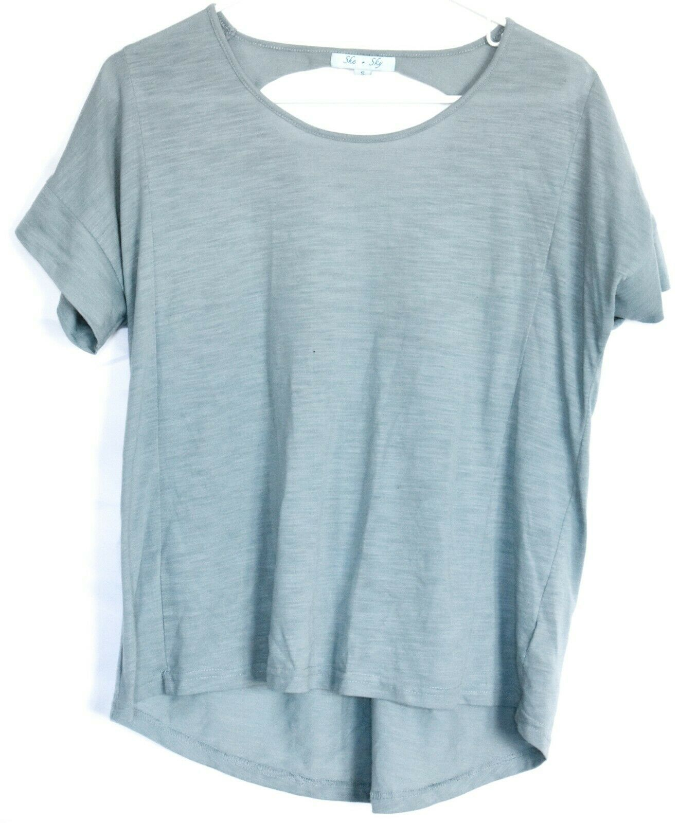 She + Sky Sea Blue Open Laced Ladder Back T-Shirt Top Size S