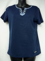 JONES NEW YORK Signature Top Blue with Gold Nautical Detailing Size Large - $11.97