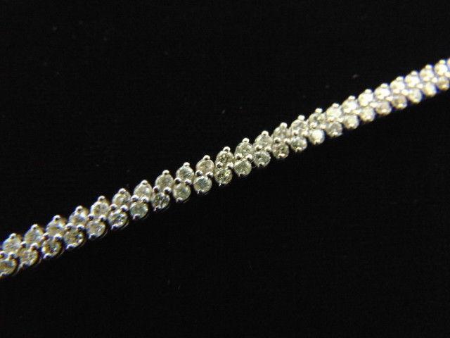 Womens Vintage Estate 11k White Gold Tennis Bracelet w/ Diamonds  10.9g E3519