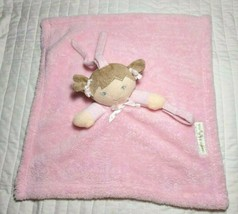Blankets & Beyond Pink Baby Girl Doll Pigtails Brown Hair Security Lovey... - $14.81