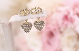 AUTH Christian Dior 2019 CLAIR D LUNE CD CRYSTAL LOGO HEART DANGLE STAR Earrings image 3