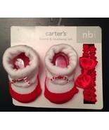 NEWBORN BABY GIRL CARTER'S BOOTIE & HEADWRAP SET Red & White - $9.49