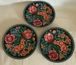 "Sango ""MARGAUX"" Pattern #4835 Set of 3 Salad Plates 1992 Floral Erica Fr... - $19.79"