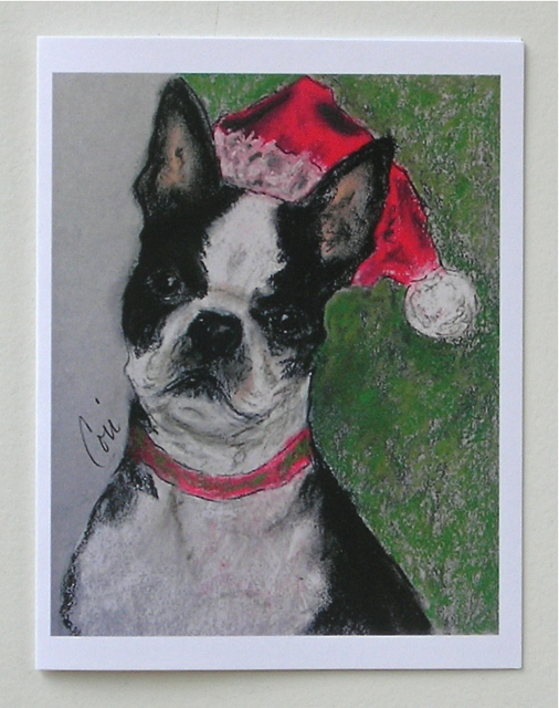 Boston terrier holiday cards